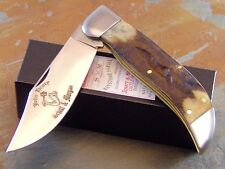 SCHATT & MORGAN 2016 JOHN HENRY #1269 GENUINE STAG LARGE CLASP KNIFE, 1 of 25