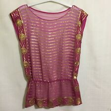 Trina Turk Womens Size Small Pink Silk Two Piece Top Gold Sequins and Cami