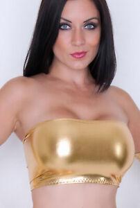 Boob Tube Metallic Gold Wet Look Bandeau Crop Top Club Party Womens Shiny B106