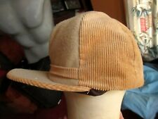 True Vtg 80s TAN CORDUROY EAR FLAP HUNTERS FITTED CAP MADE IN USA