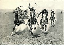 1989 POST CARD OF GREAT ART WORKS INDIAN HORSE RACE BY FREDERIC REMINGTON