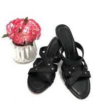 Cole Haan Women's Size 7.5 AA Slide Black Leather Casual AG6 Wedge Sandals