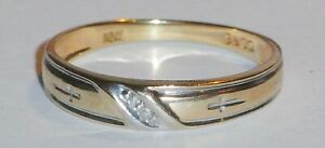 10ct Gold 0.04ct Diamond Ring With 2 Biblical Cross,s,Size N