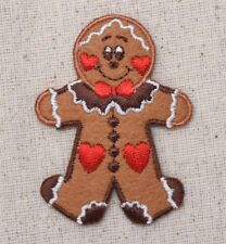 Gingerbread Man/Hearts Christmas Cookie - Iron on Applique/Embroidered Patch