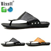 Men's Leather Thongs Slippers Sliders Sandals Flip Flops Comfy Lightweight Size