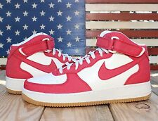Nike Air Force 1 Mid Casual Basketball Shoes Red Denim Sail Leather [315123-607]