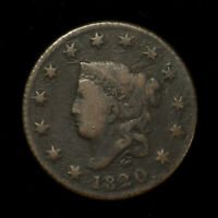 1820 CORONET HEAD 1C LARGE CENT - SMALL DATE ** F+ Dets, TOUGH VARIETY Lot#X094