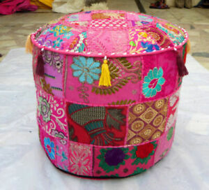 """14X22"""" Indian Cotton Vintage Round Footstool Cover Throw Patchwork Ottoman Pouf"""