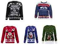 New Christmas Xmas Jumper Sizes S M L XL XXL Men Women Red Green Blue Reindeer