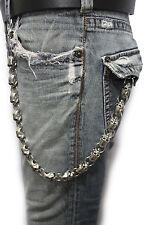 Men Silver Metal Wallet Chains Links KeyChain Jeans Biker Big Skulls Skeletons