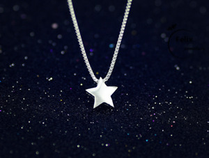 Lovely Star Pendant 925 Sterling Silver Necklace Chain Womens Jewellery Gift UK