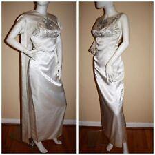 Vintage 60's Evening Gown Wedding Set Dress Cape Jacket Old Hollywood Glamour S