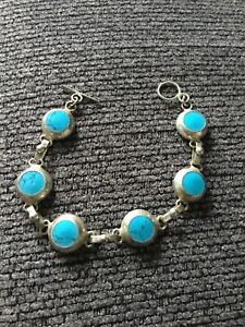 """Sterling Silver 6.5"""" Bracelet With Turquoise Stones"""