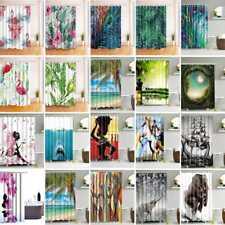 Waterproof Fabric Bathroom Shower Curtain Sheer Panel Decor 12 Hooks