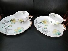 Set of 2 Vintage China Tea Cup Tennis Lunch Saucer Japan Gold Trim Yellow Flower