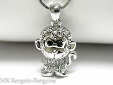 NEW Cute White Gold Plated Crystal Cheeky Wise MONKEY Charm Pendant Necklace UK
