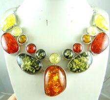 Precious Modernist Multicolor Gem amber Handmade Gemstone Jewellery Necklace P29
