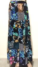 LOTUS One Size 1X Boho Bells Elasticized Sheer Black Floral Patchwork Maxi Skirt