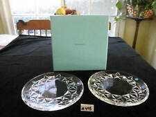 """PAIR TIFFANY & Co. CRYSTAL PLATES """"STARS"""" 8 1/2""""W, W/BOX, EXCELLENT CONDITION"""