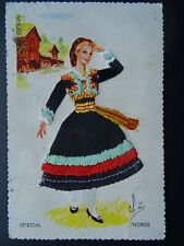 More details for norway norge national costume setesdal embroidered c1960s postcard