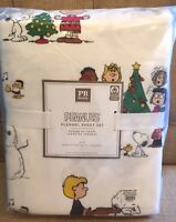 Pottery Barn Teen Peanuts Flannel Queen Sheet Set New Christmas Snoopy