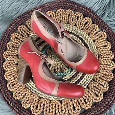 MIZ MOOZ Sz 9.5 Nectar Red Tan Leather Block Heel Round Toe Mary Jane Shoes