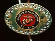 Military US Marines Retired Collectable Ceramic Christmas Ornament gift box USA