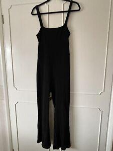 Lovely Comfy REFORMATION Black Ribbed Stretchy Jumpsuit  Size L RPR £106