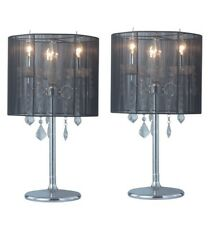 Pair of New Bedside Vintage Style Designer Crystal Table Lamp with Round Shade