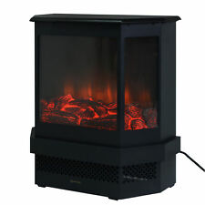 "Free Standing 23"" Electric Fireplace 1500W Adjustable Heater Fire Tempered Glass"