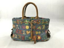 Dooney and Bourke Grafica Signature Crayon Doodle Handbag Blue Medium Flaws