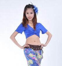 Belly Dance 3 Way to Wear Cotton Blouse Top Bra Blue