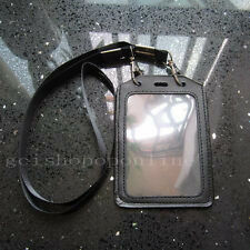 Strap lanyard Snap hook and Exhibition Genuine leather ID Card Badge Holder