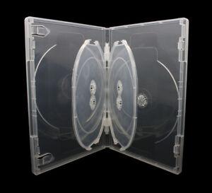 25 x 5 Fach DVD Hüllen für 5 CD / DVD / Blu-Ray Hülle 14mm Transparent MIT TRAY