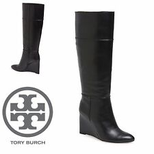$650 TORY BURCH Boot SALE Linnett Wedge Tall Black Leather Knee High Boots 6M