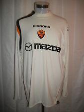 MAZDA DIADORA A.S. ROMA ITALY Sewn Away SZ 2XL Futbol Soccer Long Sleeve Jersey