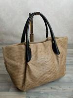 Ital. edle Schultertasche Shopper Handtasche ECHT Leder Taupe Krokooptik 898T