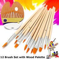 12 Paint Brush Oil Watercolor Acrylic Artist Painting Craft + Wood Palette Set