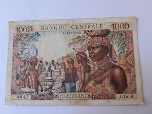 Billet ancien de 1000 francs de l' Afrique Equatoriale