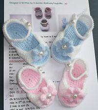 *Crochet PATTERN*Baby Peep Toe Sandal/Shoes-inc.Flowers/Bows-0 to 12mths-4 sizes
