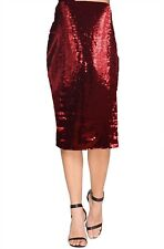 New 12-22 Sparkly Red Sequin Midi Bodycon Pencil Skirt Party Celebrate Ladies