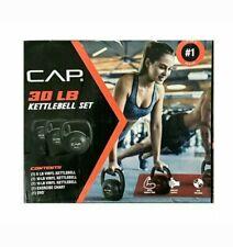CAP 30 LB Kettlebell Set 3 Piece 5lb 10lb 15lb Weight Set + Workout DVD