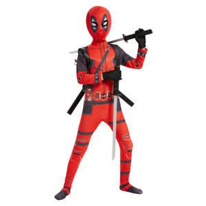 Deadpool Cosplay Costume Jumpsuits Kids Spandex Zentai Bodysuits Without Knife