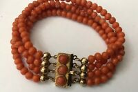 Mediterranean Salmon Red Natural Coral Beads 9ct 9k Gold Clasp Bracelet 21.8g