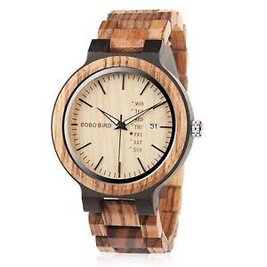 Men's Wooden Watch Analog Quartz Zebra Sandalwood Handmade Vintage Casual Bamboo