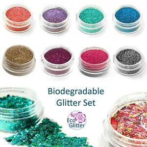 Biodegradable Glitter Set - ALL OF THESE 3ml POTS £8.49 - 2 Chunky Eco Bio Kda