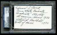 Edward Ed Bock (d 2004) signed autograph 3x5 index card College Football HOF PSA