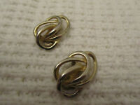 """Gold Tone Knot Style Clip On Earrings of Unknown Vintage - 1.25"""" long"""