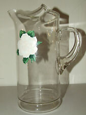 Antique 1940's Clear Deppression Glass Water Lemonade Iced Tea Juice Pitcher