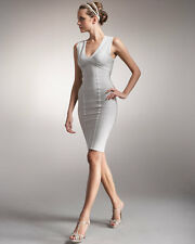Herve Leger V-Neck Bandage Dress, Moondust (S) $1,190+